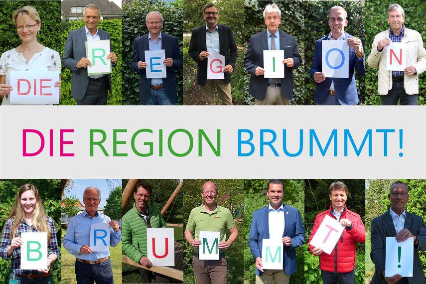 Bildercollage mit 14 Portraitfotos mit der Bildunterschrift 'Die Region brummt!'