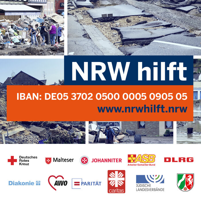 Spendenaufruf NRW für die Flutopfer mit den Bankdaten und der Internetadresse.
