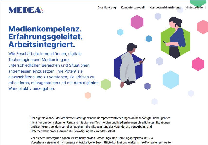 Ein Screenshot der Internetseite von 'Medea'.